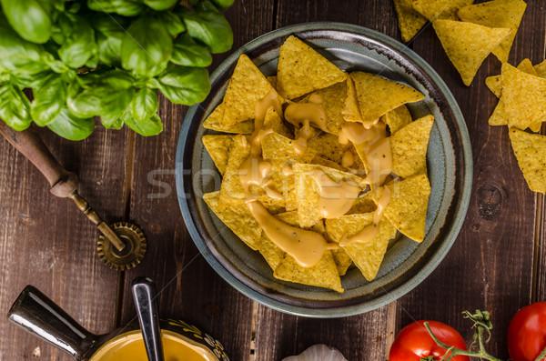 Nachos caseiro queijo molho rápido delicioso Foto stock © Peteer