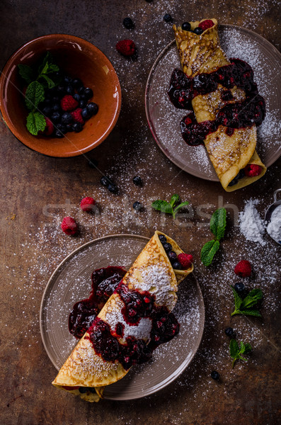 Delicious crepes with forest fruit Stock photo © Peteer