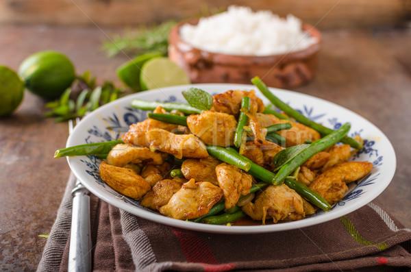 Сток-фото: куриные · бобов · белый · риса · зеленый