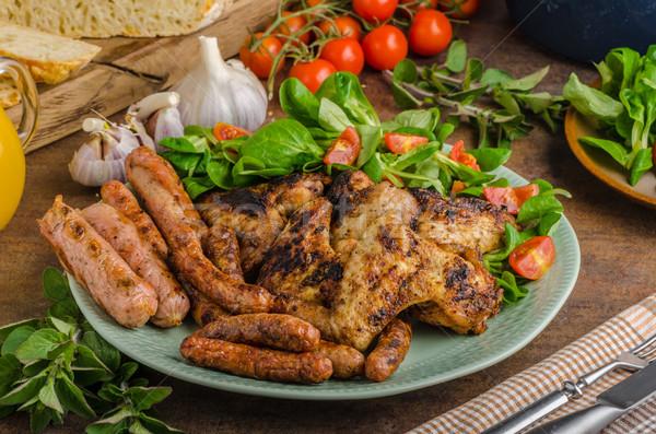 Stok fotoğraf: ızgara · tavuk · kanatlar · sosis · ızgara · sezon · gıda