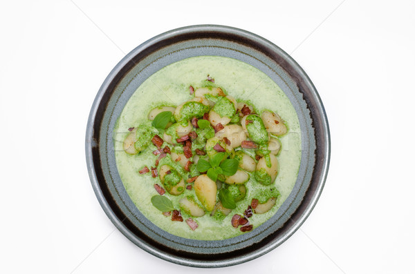 Gnocchi with bacon and basil spinach sauce Stock photo © Peteer