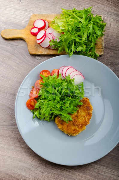 豚肉 パルメザンチーズ レタス 大根 チェリートマト 食品 ストックフォト © Peteer