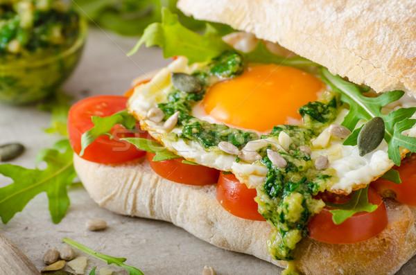 Stockfoto: Tomaten · pesto · bio · eieren · gezonde