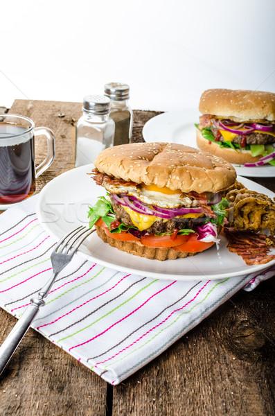 Wołowiny burger boczek Zdjęcia stock © Peteer