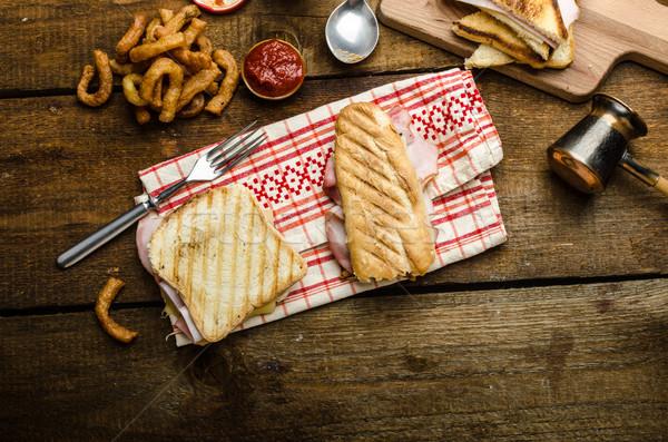 Szybki obiedzie toast szynka ser panini Zdjęcia stock © Peteer