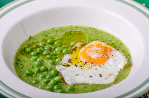 Soup of young peas Stock photo © Peteer