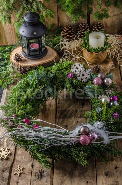 Karácsony advent koszorú házi készítésű gyönyörű ajándék Stock fotó © Peteer