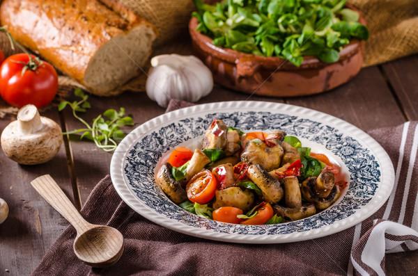 Stockfoto: Warm · champignon · salade · chili · tomaten · voedsel