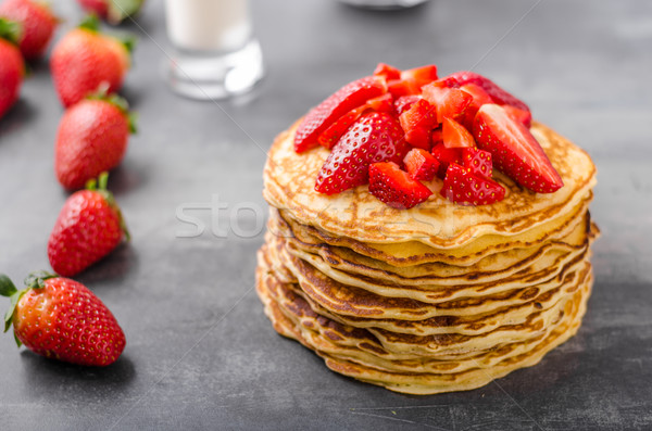 American pancakes with strawberries Stock photo © Peteer