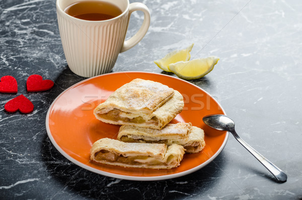 Homemade apple pie with black tea Stock photo © Peteer