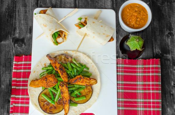 鶏 トルティーヤ 豆 赤 カレー ストックフォト © Peteer