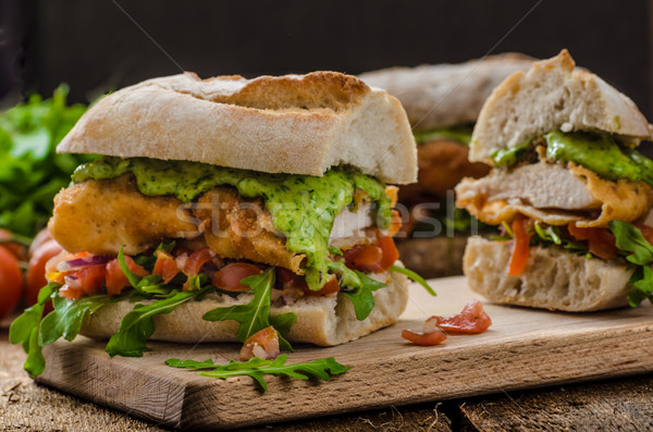 Veal schnitzel - fillet in a bun Stock photo © Peteer
