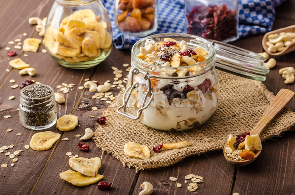 Homemade yogurt with granola, dried fruit and nuts bio Stock photo © Peteer