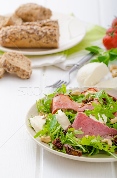 Arugula salad with meat and mozzarella Stock photo © Peteer