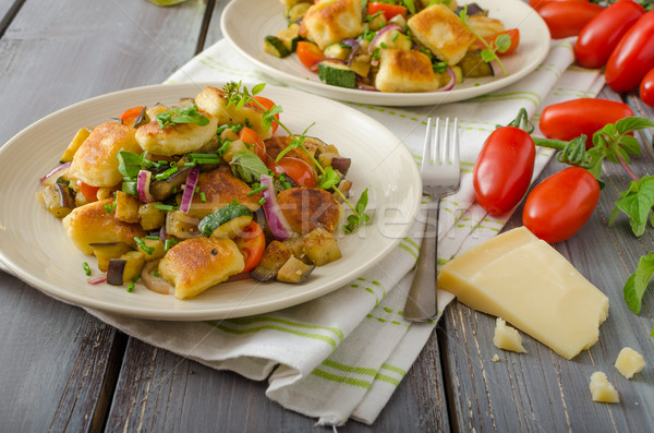 Homemade gnocchi with Mediterranean vegetables Foto stock © Peteer