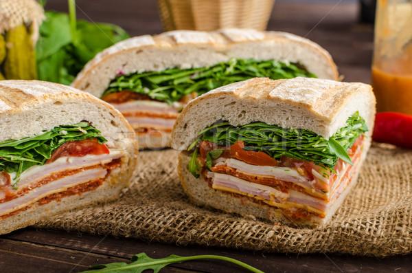イタリア語 サンドイッチ フル おいしい ハム チーズ ストックフォト © Peteer