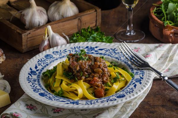 Foto stock: Italiano · macarrão · carne · guisada · rústico · comida · delicioso