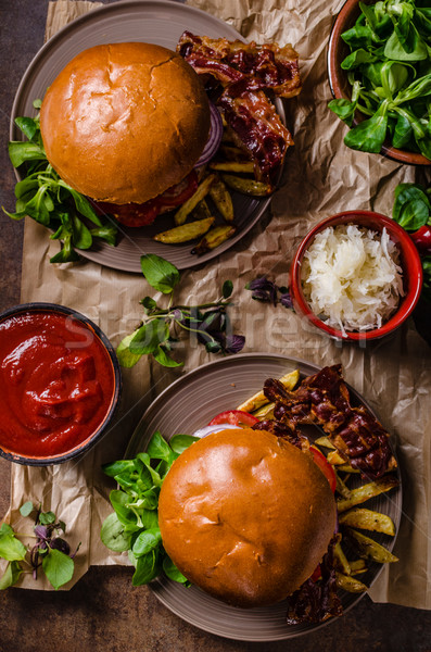 Beef burger with bacon and french fries Stock photo © Peteer