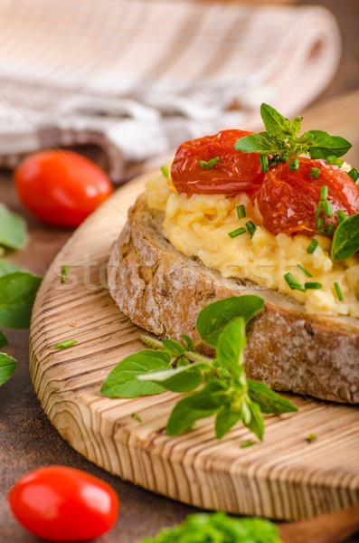 хлеб яйца завтрак травы помидоров обеда Сток-фото © Peteer