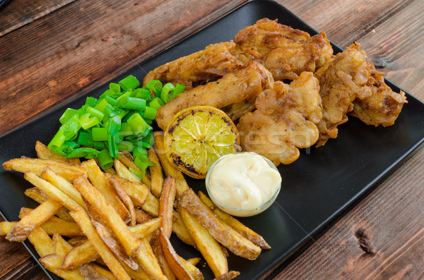 Fish and chips with homemade mayonnaise Stock photo © Peteer