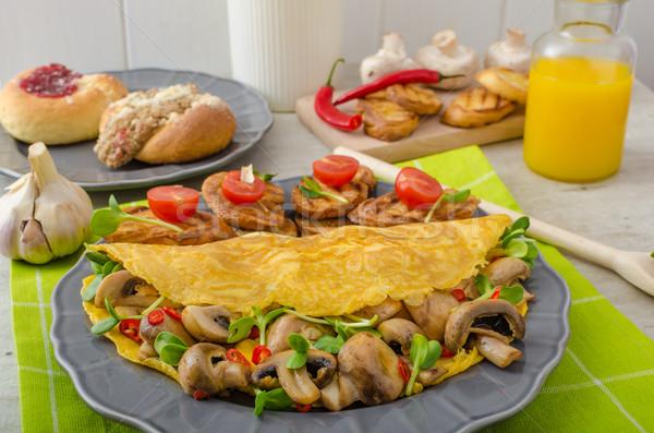 Vegetarisch eten schone voedsel kruiden champignons Stockfoto © Peteer