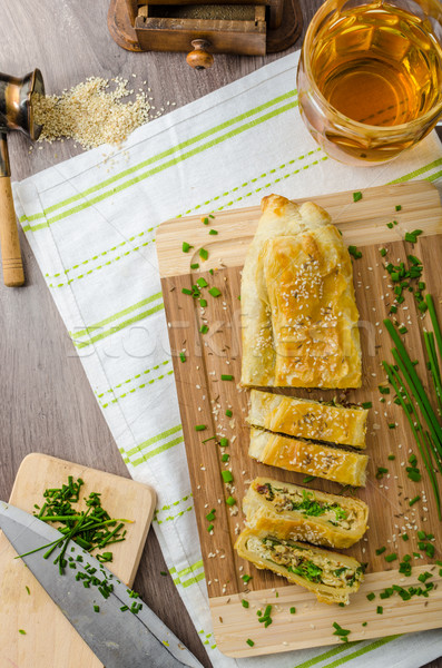 Strudel with spinach, blue cheese and garlic Stock photo © Peteer