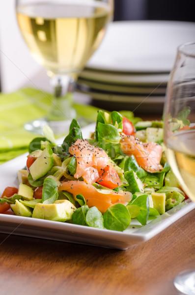 Fresh salad with salmon Stock photo © Peteer
