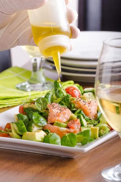 Stockfoto: Vers · salade · zalm · lam · sla · avocado