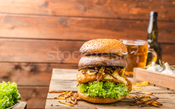 Stock photo: Fish and Chips Burger with grilled portobello