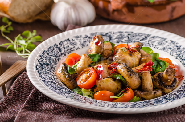 Stock photo: Warm mushroom salad with chilli