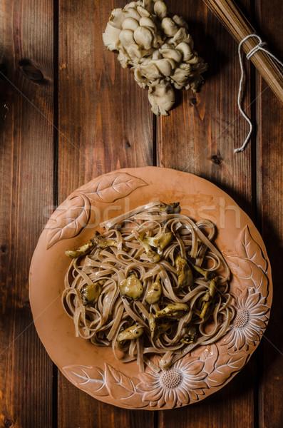 Macarrão ostra alho cogumelos comida Foto stock © Peteer