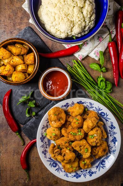 Frito couve-flor batatas ervas comida Foto stock © Peteer
