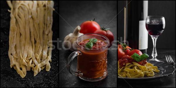 Semolina pasta with spicy tomato salsa, garlic and basil Stock photo © Peteer