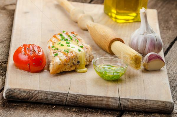 Stockfoto: Gekruid · kip · biefstuk · saus · gegrild · tomaat