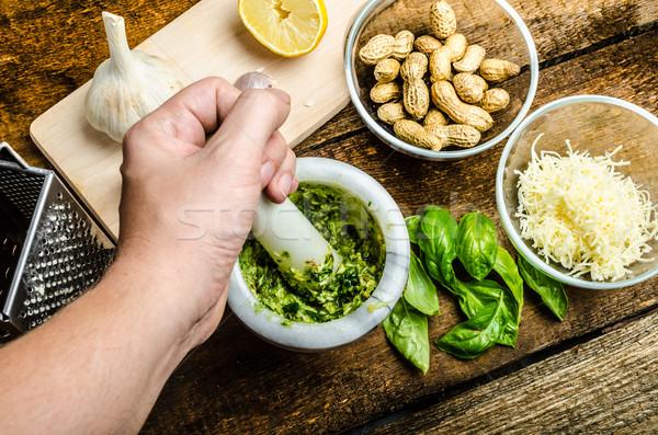 Zdjęcia stock: Pesto · bazylia · ser · orzechy · oliwy