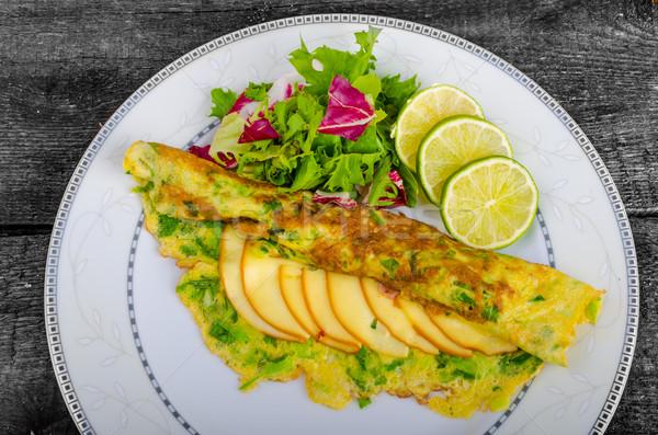 Vegetarian scallion omelette Stock photo © Peteer