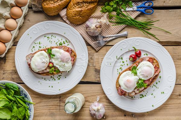 Stok fotoğraf: Yumurta · küçük · salata · süt · taze · otlar