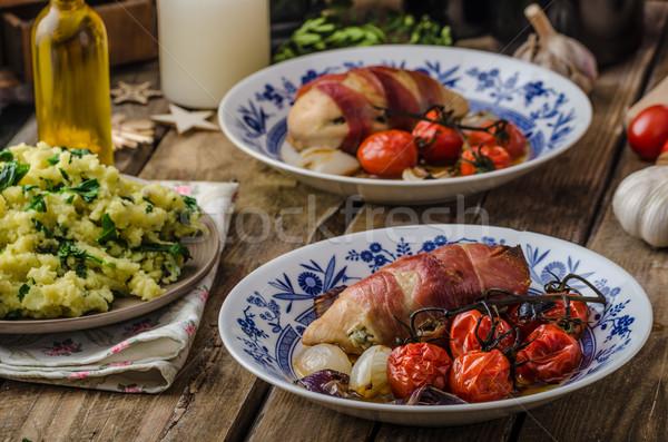 Stock photo: Prosciutto wrapped chicken