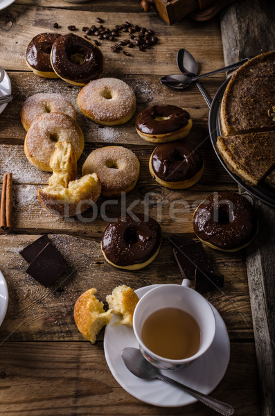 Old style donuts rustic style Stock photo © Peteer