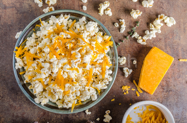 Maison fromages popcorn ail herbes cheddar Photo stock © Peteer