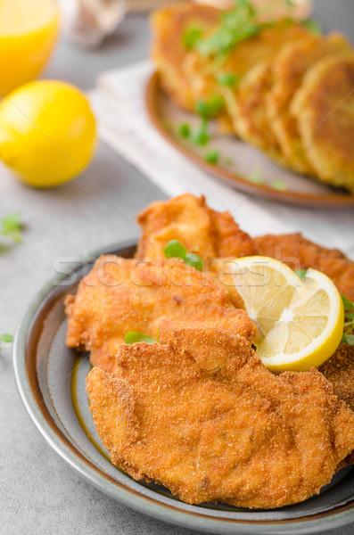 Heerlijk origineel aardappel pannenkoeken vers sap Stockfoto © Peteer