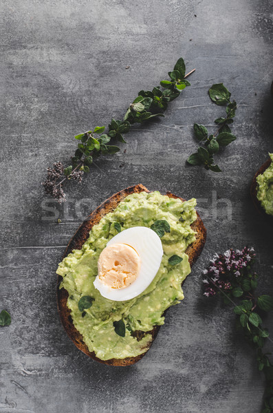 Bio avokádó kenyér főtt tojás háttér tojások Stock fotó © Peteer