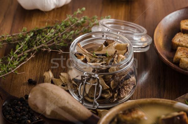 Stock photo: Rustic mushrooms soup