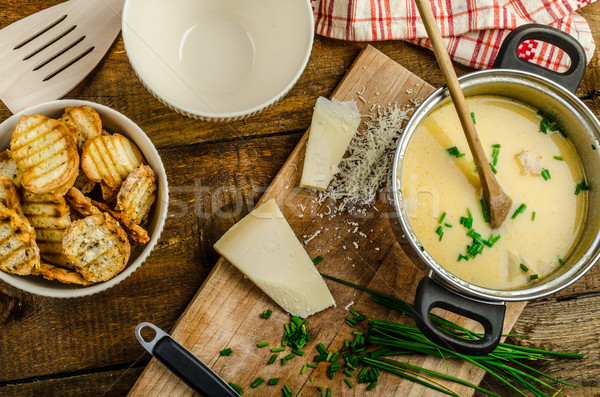Mushroom creame soup with herbs and toasts Stock photo © Peteer