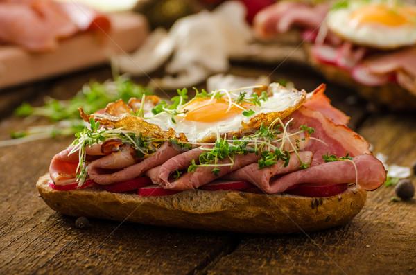 Smoked ham sandwich, rustic bread Stock photo © Peteer
