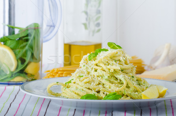 Macaroni with pesto Stock photo © Peteer