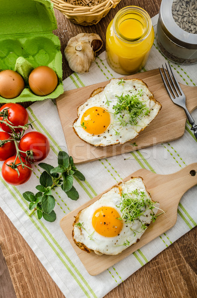 Saine dîner panini Toast oeuf légumes Photo stock © Peteer