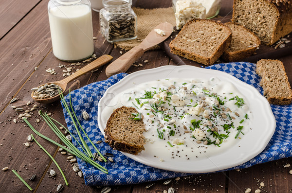 Homemade yogurt dip with blue cheese and chives Stock photo © Peteer