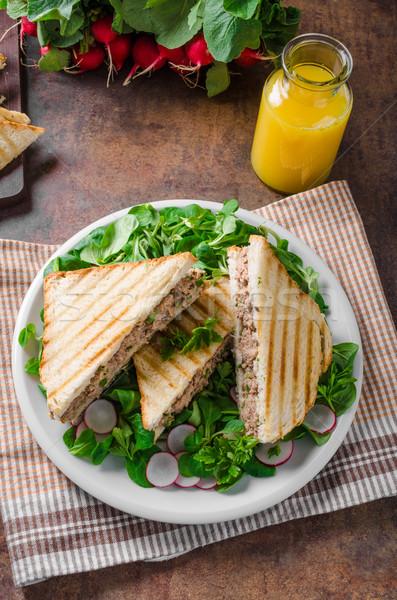 Tonhal saláta saláta retek hal vacsora tányér Stock fotó © Peteer