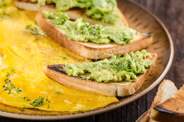Stockfoto: Ei · knoflook · avocado · toast · bio · eieren